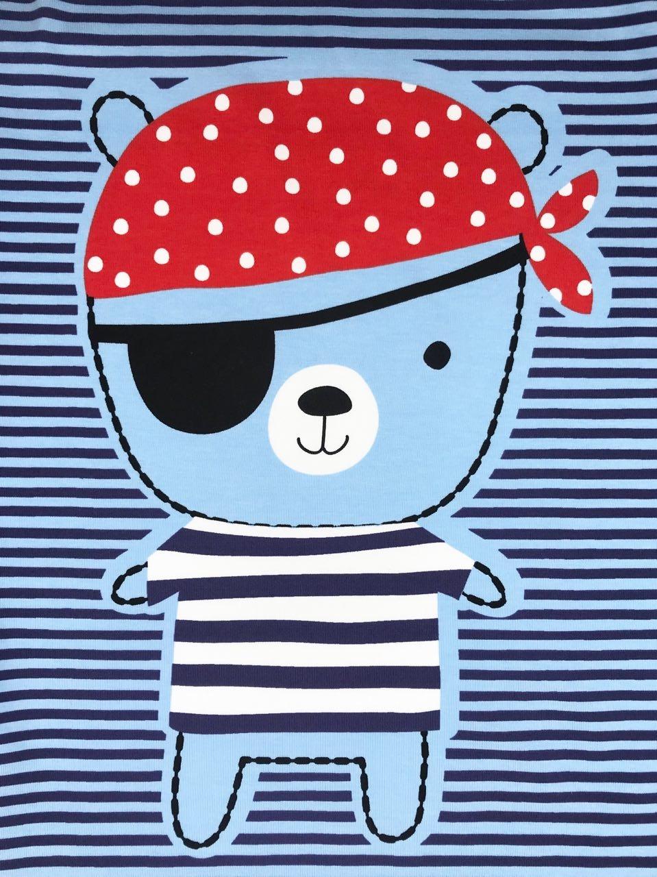 """Jersey /"""" Piraten /"""" hellblau Kinderstoff"""