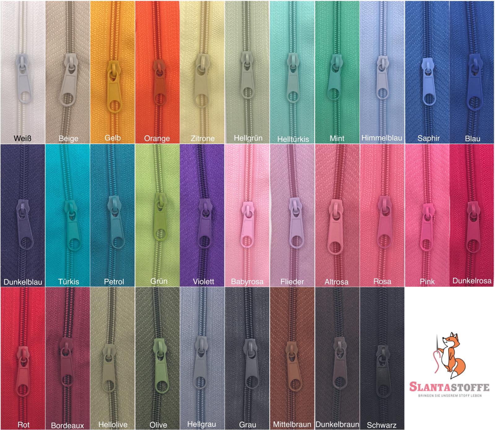 Meterware 2 Schieber//Zipper 15 Farben Spirale 5mm Reißverschluss endlos