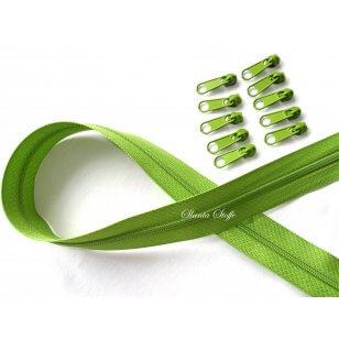 Endlos Reißverschluss grün , Set 2m + 10 Zipper kaufen