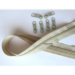 Endlos Reißverschluss beige, Set 2m + 6 Zipper kaufen