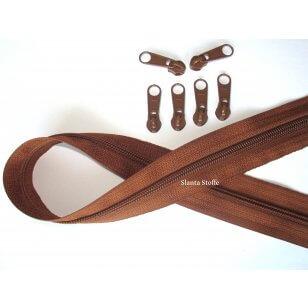 Endlos Reißverschluss mittelbraun, Set 2m + 6 Zipper kaufen