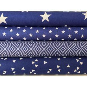 Stoffpaket, in royalblau, 4 Stoffstücke kaufen