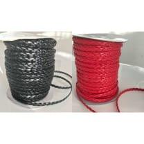 geflochtene Kunstlederband, rot, schwarz, 6mm