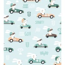 Baumwolle, Kinderstoff Auto Hase