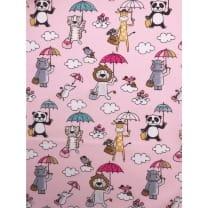 Baumwolle Kinderstoff Tierchen Löwe Giraffe rosa Breite 150cm