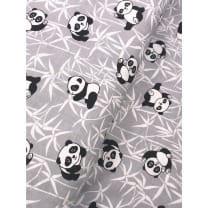 Baumwollstoff Kinderstoff Panda Bär grau Breite 160cm