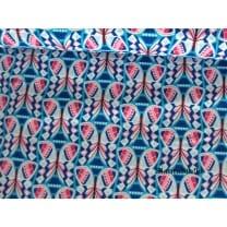 Baumwollstoff retro, blau, pink
