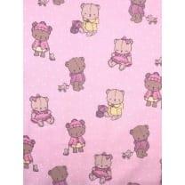 Baumwolle Kinderstoff Teddy Bär rosa