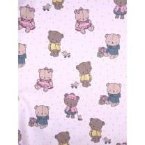 Baumwolle Kinderstoff Teddy Bär weiß