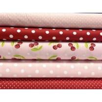 Stoffpaket Stoffset Baumwolle Kinderstoff Kirsche rosa