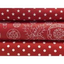 Stoffpaket Stoffset Baumwolle Dekostoff Weihnachten Kugeln