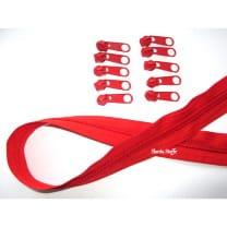 Endlos Reißverschluss hellrot, Set 2m + 6 Zipper