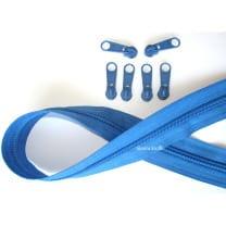 Endlos Reißverschluss saphir, Set 2m + 6 Zipper
