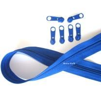Endlos Reißverschluss blau, Set 2m + 6 Zipper