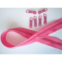 Endlos Reißverschluss pink, Set 2m + 6 Zipper