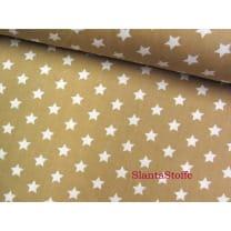 Stoff Sterne, 1cm, beige, 100% Baumwolle