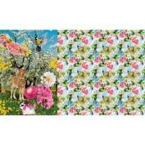 Panel Jersey Stoff Rehlein Tiere Vögel Kinderstoff 1m x 1,50m