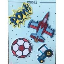 Aufnäher Applikation Fußball Flugzeug Patches Set 4 Teile