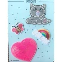 Aufnäher Applikation Katze Herz Set 4 Teile