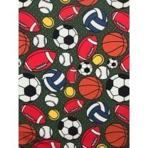Jersey Stoff Kinderstoff Ball Fußball Khaki Breite 150 cm ab 50 cm