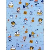 Baumwolle Kinderstoff Piraten Tiere hellblau Breite 150cm