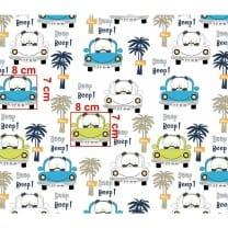 Baumwollstoff Kinderstoff Auto Panda Palme Breite 160cm ab 50cm