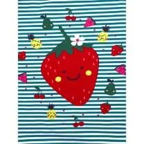 Panel Jersey Stoff Erdbeere Blumen grün Kinderstoff
