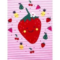 Panel Jersey Stoff Erdbeere Blumen rosa Kinderstoff
