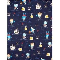 Baumwolle Kinderstoff Piraten Tiere dunkelblau Breite 150cm