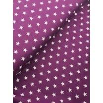 Stoff Sterne 1cm, weiß auf lila, 100% Baumwolle