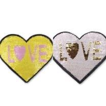 Wendepailletten XL-Patch Aufnäher Applikation Herz Love Liebe