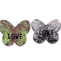 Wendepailletten XL-Patch Aufnäher Applikation Schmetterling Love Liebe