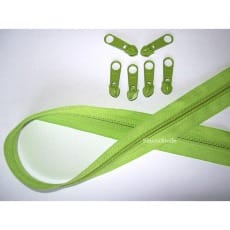 Endlos Reißverschluss grün, Set 2m + 6 Zipper