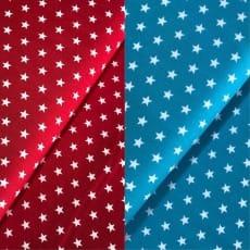 Stoff Sterne 1cm, rot, türkis100% Baumwolle