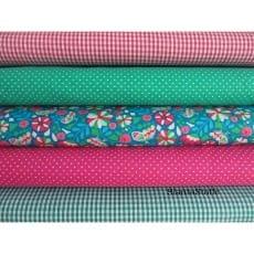 Stoffpaket, Stoffset in pink, grün, 5 Stoffstücke