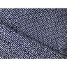Baumwollstoff Rauten royalblau weiß