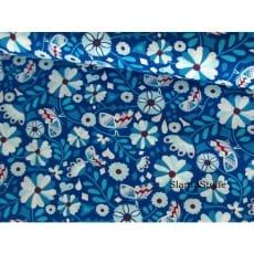 Baumwollstoff Blumen retro, blau, 100% Baumwolle