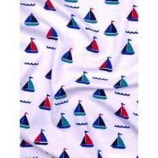 Jersey Stoff Kinderstoff Maritim weiß Segelschiffchen