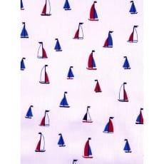 Baumwolle Kinderstoff Segelschiffchen weiß