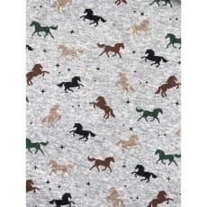 Steppstoff Sweatstoff grau meliert Pferd ab 50 cm
