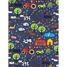 Jersey Stoff Kinderstoff Bauernhof dunkelblau ab 50 cm
