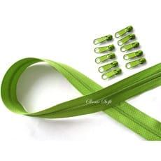 Endlos Reißverschluss grün , Set 2m + 10 Zipper