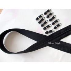 Endlos Reißverschluss schwarz, Set 2m + 10 Zipper