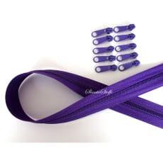 Endlos Reißverschluss violett, Set 2m + 10 Zipper