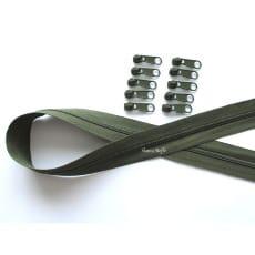 Endlos Reißverschluss olive, Set 2m + 10 Zipper