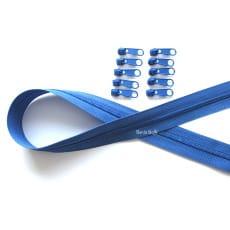 Endlos Reißverschluss saphir. Set 2m + 10 Zipper