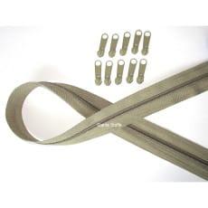 Endlos Reißverschluss hellolive. Set 2m + 10 Zipper