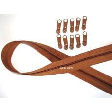 Endlos Reißverschluss mittelbraun, Set 2m + 10 Zipper