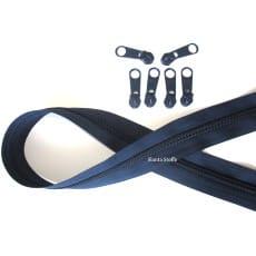 Endlos Reißverschluss dunkelblau, Set 2m + 6 Zipper