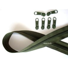 Endlos Reißverschluss oliv, Set 2m + 6 Zipper